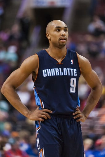 Apr 2, 2014; Philadelphia, PA, USA; Charlotte Bobcats guard Gerald Henderson (9) during the first quarter against the Philadelphia 76ers at the Wells Fargo Center. The Bobcats defeated the Sixers 123-93. Mandatory Credit: Howard Smith-USA TODAY Sports