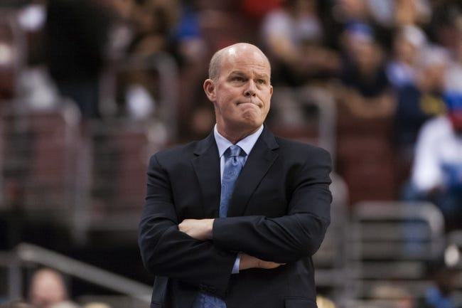 Apr 2, 2014; Philadelphia, PA, USA; Charlotte Bobcats head coach Steve Clifford during the third quarter against the Philadelphia 76ers at the Wells Fargo Center. The Bobcats defeated the Sixers 123-93. Mandatory Credit: Howard Smith-USA TODAY Sports