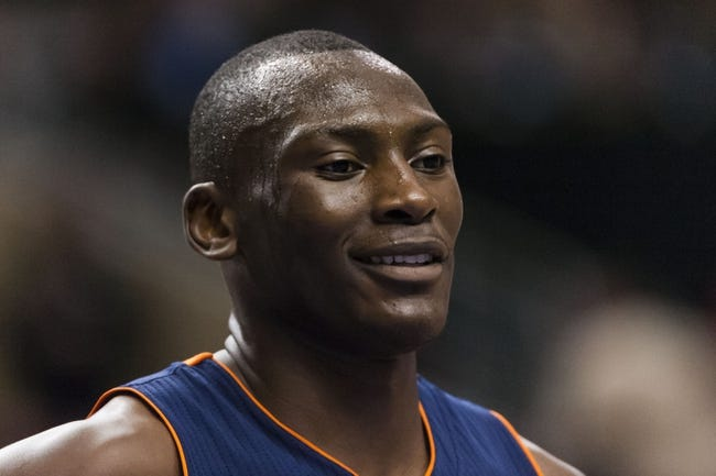 Apr 2, 2014; Philadelphia, PA, USA; Charlotte Bobcats center Bismack Biyombo (0) during the fourth quarter against the Philadelphia 76ers at the Wells Fargo Center. The Bobcats defeated the Sixers 123-93. Mandatory Credit: Howard Smith-USA TODAY Sports