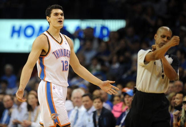 Apr 3, 2014; Oklahoma City, OK, USA; Oklahoma City Thunder center Steven Adams (12) reacts after being called for an offensive foul against the San Antonio Spurs during the third quarter at Chesapeake Energy Arena. Mandatory Credit: Mark D. Smith-USA TODAY Sports