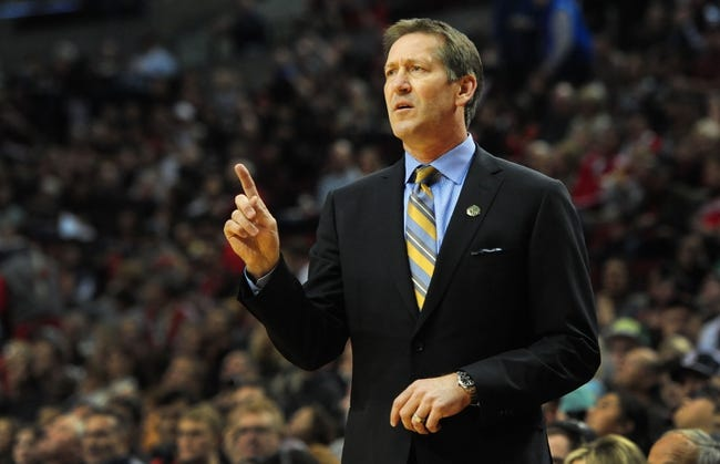 Apr 4, 2014; Portland, OR, USA;Phoenix Suns head coach Jeff Hornacek signals out to his team during the first quarter of the game against the Portland Trail Blazers at Moda Center. Mandatory Credit: Steve Dykes-USA TODAY Sports