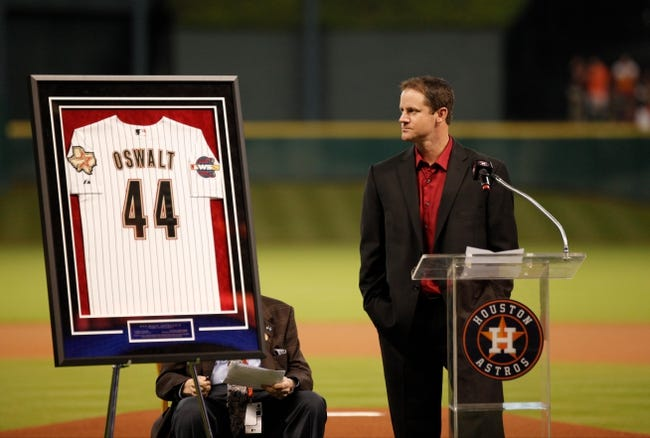 Apr 5, 2014; Houston, TX, USA; former Houston Astro Roy Oswalt is honored prior to the game against the Los Angeles Angels at Minute Maid Park. Mandatory Credit: Andrew Richardson-USA TODAY Sports