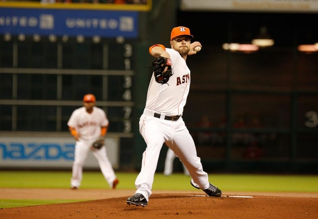 Apr 5, 2014; Houston, TX, USA; Houston Astros starting pitcher Dallas Keuchel (60) pitches during the first inning against the Los Angeles Angels at Minute Maid Park. Mandatory Credit: Andrew Richardson-USA TODAY Sports