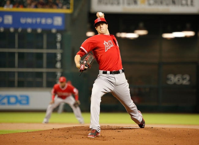 Apr 5, 2014; Houston, TX, USA; Los Angeles Angels starting pitcher Tyler Skaggs (45) pitches during the first inning against the Houston Astros at Minute Maid Park. Mandatory Credit: Andrew Richardson-USA TODAY Sports
