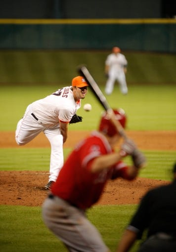 Apr 5, 2014; Houston, TX, USA; Houston Astros relief pitcher Matt Albers (37) pitches during the sixth inning against the Los Angeles Angels at Minute Maid Park. Mandatory Credit: Andrew Richardson-USA TODAY Sports