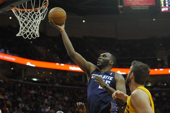 Apr 5, 2014; Cleveland, OH, USA; Charlotte Bobcats center Al Jefferson (25) shoots the ball in the first quarter  against the Cleveland Cavaliers at Quicken Loans Arena. Mandatory Credit: David Richard-USA TODAY Sports