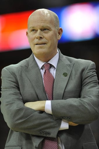 Apr 5, 2014; Cleveland, OH, USA; Charlotte Bobcats head coach Steve Clifford reacts in the third quarter against the Cleveland Cavaliers at Quicken Loans Arena. Mandatory Credit: David Richard-USA TODAY Sports