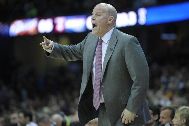 Apr 5, 2014; Cleveland, OH, USA; Charlotte Bobcats head coach Steve Clifford gestures from the sidelines in the third quarter against the Cleveland Cavaliers at Quicken Loans Arena. Mandatory Credit: David Richard-USA TODAY Sports