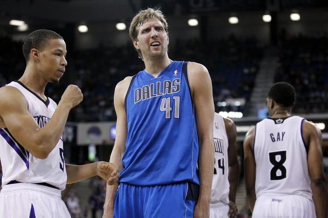 Apr 6, 2014; Sacramento, CA, USA; Dallas Mavericks forward Dirk Nowitzki (41) looks for a foul call after an offensive play against the Sacramento Kings in the second quarter at Sleep Train Arena. Mandatory Credit: Cary Edmondson-USA TODAY Sports