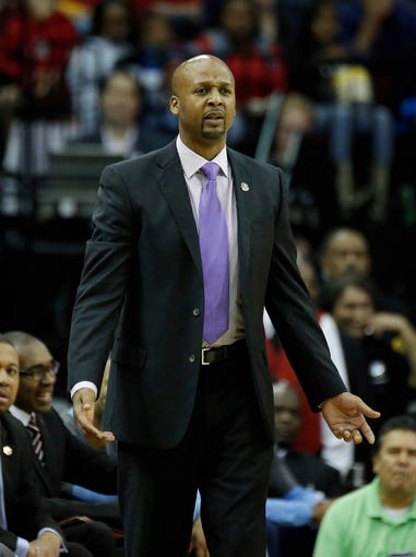 Apr 6, 2014; Houston, TX, USA; Denver Nuggets head coach Brian Shaw reacts to a play during the first quarter against the Houston Rockets at Toyota Center. Mandatory Credit: Andrew Richardson-USA TODAY Sports