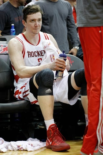 Apr 6, 2014; Houston, TX, USA; Houston Rockets center Omer Asik (3) sits on the bench during the second quarter against the Denver Nuggets at Toyota Center. Mandatory Credit: Andrew Richardson-USA TODAY Sports