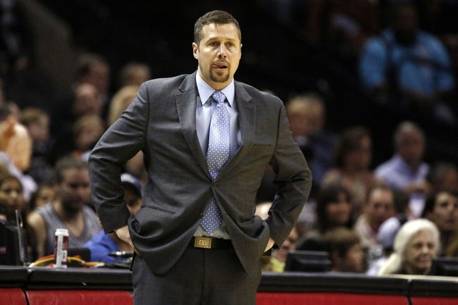 Apr 6, 2014; San Antonio, TX, USA; Memphis Grizzlies head coach David Joerger watches from the sideline during the first half against the San Antonio Spurs at AT&T Center. Mandatory Credit: Soobum Im-USA TODAY Sports