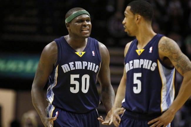 Apr 6, 2014; San Antonio, TX, USA; Memphis Grizzlies forward Zach Randolph (50) reacts to a call during the first half against the San Antonio Spurs at AT&T Center. Mandatory Credit: Soobum Im-USA TODAY Sports