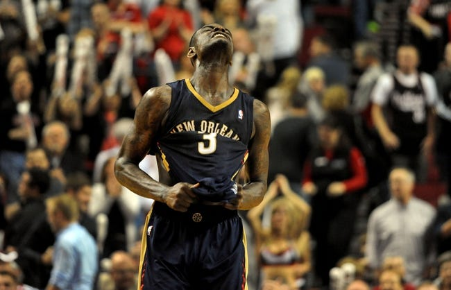 Apr 6, 2014; Portland, OR, USA; New Orleans Pelicans guard Anthony Morrow (3) reacts after missing a shot late during the fourth quarter of the game against the Portland Trail Blazers at the Moda Center. The Blazers won the game 100-94. Mandatory Credit: Steve Dykes-USA TODAY Sports