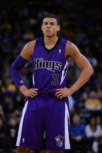 April 4, 2014; Oakland, CA, USA; Sacramento Kings guard Ray McCallum (3) looks on against the Golden State Warriors during the third quarter at Oracle Arena. The Warriors defeated the Kings 102-69. Mandatory Credit: Kyle Terada-USA TODAY Sports
