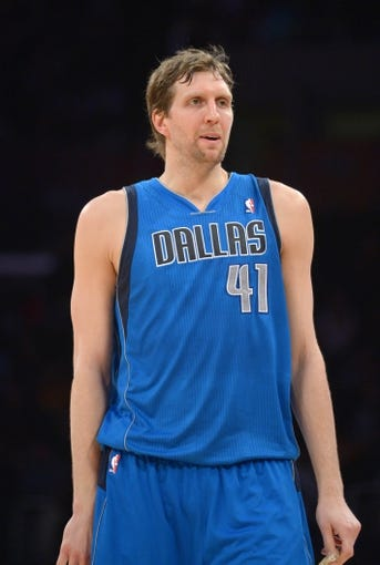 Apr 4, 2014; Los Angeles, CA, USA; Dallas Mavericks forward Dirk Nowitzki (41) reacts during the game against the Los Angeles Lakers at Staples Center. The Mavericks defeated the Lakers 107-95.  Mandatory Credit: Kirby Lee-USA TODAY Sports