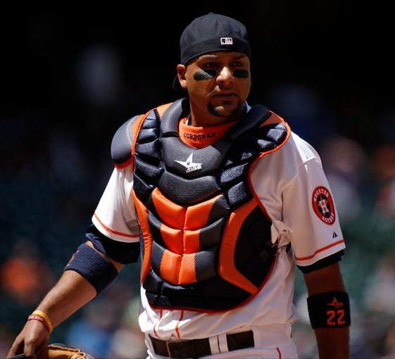 Apr 7, 2014; Houston, TX, USA; Houston Astros catcher Carlos Corporan (22) with his mask off during the first inning against the Los Angeles Angels at Minute Maid Park. Mandatory Credit: Andrew Richardson-USA TODAY Sports
