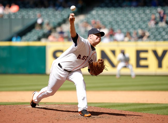 Apr 7, 2014; Houston, TX, USA; Houston Astros starting pitcher Brad Peacock (41) pitches during the seventh inning against the Los Angeles Angels at Minute Maid Park. Mandatory Credit: Andrew Richardson-USA TODAY Sports