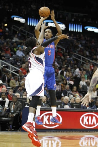 Apr 8, 2014; Atlanta, GA, USA; Detroit Pistons guard Kentavious Caldwell-Pope (5) shoots the ball against the Atlanta Hawks in the second quarter at Philips Arena. Mandatory Credit: Brett Davis-USA TODAY Sports