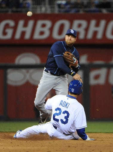 Apr 8, 2014; Kansas City, MO, USA; Kansas City Royals right fielder Norichika Aoki (23) is out at second base asTampa Bay Rays second baseman Ben Zobrist (18) turns a double play in the third inning at Kauffman Stadium. Mandatory Credit: John Rieger-USA TODAY Sports