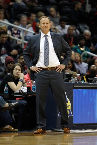 Apr 8, 2014; Atlanta, GA, USA; Atlanta Hawks head coach Mike Budenholzer coaches against the Detroit Pistons in the fourth quarter at Philips Arena. Mandatory Credit: Brett Davis-USA TODAY Sports