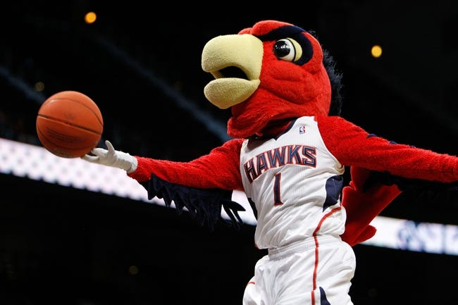Apr 8, 2014; Atlanta, GA, USA; Atlanta Hawks maxcot Harry performs during a timeout against the Detroit Pistons in the fourth quarter at Philips Arena. Mandatory Credit: Brett Davis-USA TODAY Sports