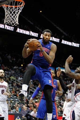 Apr 8, 2014; Atlanta, GA, USA; Detroit Pistons center Andre Drummond (0) grabs a rebound against the Atlanta Hawks in the fourth quarter at Philips Arena. Mandatory Credit: Brett Davis-USA TODAY Sports