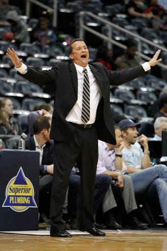 Apr 8, 2014; Atlanta, GA, USA; Detroit Pistons head coach John Loyer coaches against the Atlanta Hawks in the fourth quarter at Philips Arena. The Pistons defeated the Hawks 102-95. Mandatory Credit: Brett Davis-USA TODAY Sports
