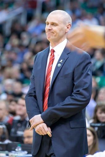 Apr 8, 2014; Salt Lake City, UT, USA; Dallas Mavericks head coach Rick Carlisle reacts during the first half against the Utah Jazz at EnergySolutions Arena. Mandatory Credit: Russ Isabella-USA TODAY Sports