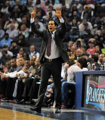 Apr 9, 2014; Memphis, TN, USA; Miami Heat head coach Erik Spoelstra during the game against the Memphis Grizzlies at FedExForum. Mandatory Credit: Justin Ford-USA TODAY Sports