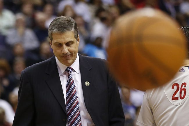 Apr 9, 2014; Washington, DC, USA; Washington Wizards head coach Randy Wittman reacts during a timeout against the Charlotte Bobcats in the fourth quarter at Verizon Center. The Bobcats won 94-88 in overtime. Mandatory Credit: Geoff Burke-USA TODAY Sports