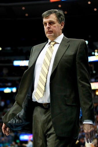 Apr 9, 2014; Denver, CO, USA; Houston Rockets head coach Kevin McHale in the second quarter against the Denver Nuggets at the Pepsi Center. Mandatory Credit: Isaiah J. Downing-USA TODAY Sports