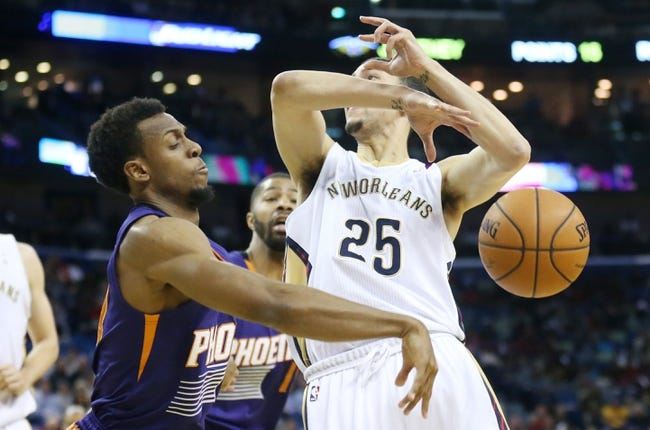 Apr 9, 2014; New Orleans, LA, USA; Phoenix Suns guard Ish Smith (3) knocks the ball away from New Orleans Pelicans guard Austin Rivers (25) in the second half at the Smoothie King Center. The Suns won 94-88. Mandatory Credit: Crystal LoGiudice-USA TODAY Sports