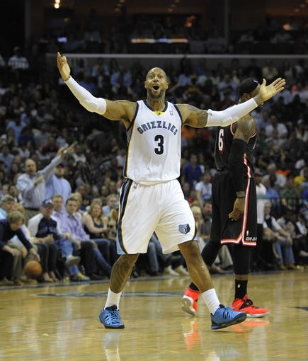 Apr 9, 2014; Memphis, TN, USA; Memphis Grizzlies forward James Johnson (3) reacts to a call during the game against the Miami Heat at FedExForum. Memphis Grizzlies beat the Miami Heat 107 - 102. Mandatory Credit: Justin Ford-USA TODAY Sports