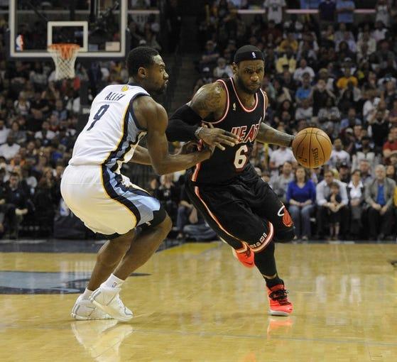 Apr 9, 2014; Memphis, TN, USA; Memphis Grizzlies guard Tony Allen (9) guards Miami Heat forward LeBron James (6)during the game at FedExForum. Memphis Grizzlies beat the Miami Heat 107 - 102. Mandatory Credit: Justin Ford-USA TODAY Sports