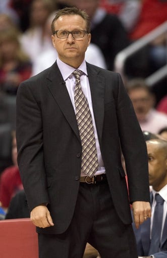Apr 9, 2014; Los Angeles, CA, USA; Oklahoma City Thunder head coach Scott Brooks looks on from the sidelines against the Los Angeles Clippers during the first quarter at Staples Center. Mandatory Credit: Kelvin Kuo-USA TODAY Sports