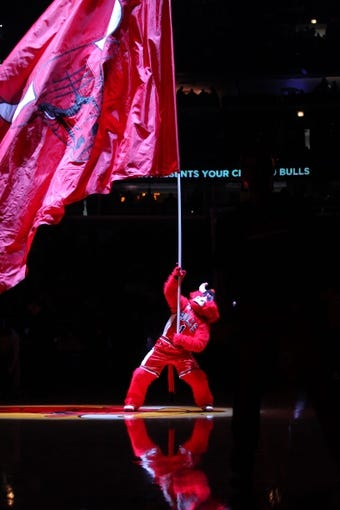 Apr 11, 2014; Chicago, IL, USA; Chicago Bulls mascot Benny the Bull prior to the first quarter against the Detroit Pistons at the United Center. Mandatory Credit: Dennis Wierzbicki-USA TODAY Sports
