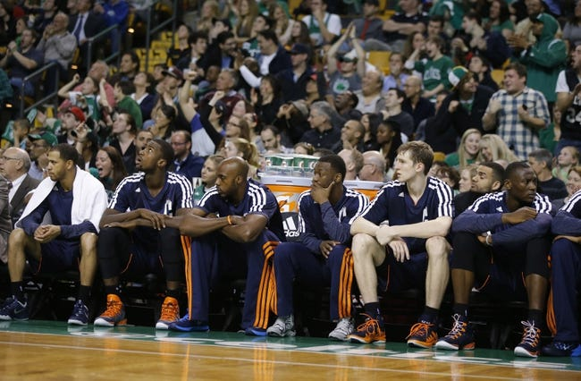 Apr 11, 2014; Boston, MA, USA; The Charlotte Bobcats bench looks on in the last minutes of the game as they take on the Boston Celtics at TD Garden. The Celtics defeated the Bobcats 106-103. Mandatory Credit: David Butler II-USA TODAY Sports