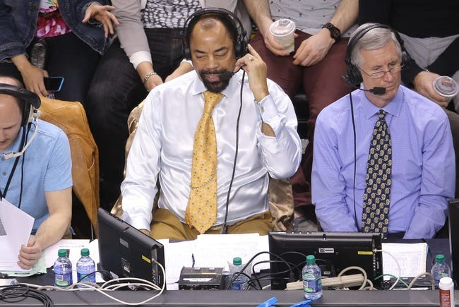 Apr 11, 2014; Toronto, Ontario, CAN; Former New York Knicks player and current television color commentator Walt Frazier during the game against the Toronto Raptors at Air Canada Centre. The Knicks beat the Raptors 108-100. Mandatory Credit: Tom Szczerbowski-USA TODAY Sports