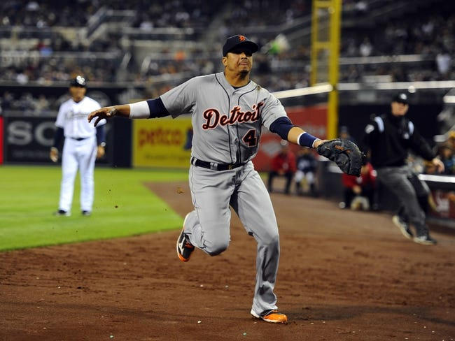 Apr 11, 2014; San Diego, CA, USA; Detroit Tigers first baseman Victor Martinez (41) catches a ball in foul grounds during the ninth inning against the San Diego Padres at Petco Park. The Padres won 6-0. Mandatory Credit: Christopher Hanewinckel-USA TODAY Sports