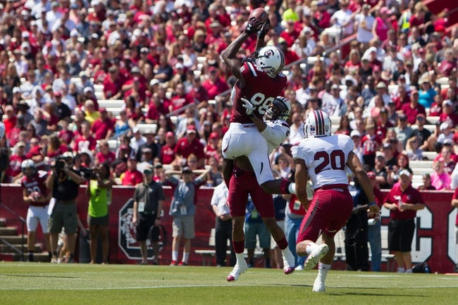 Apr 12, 2014; Columbia, SC, USA; South Carolina Gamecocks tight end Drew Owens (88) catches the ball during the first half of the South Carolina spring game at Williams-Brice Stadium. Mandatory Credit: Joshua S. Kelly-USA TODAY Sports