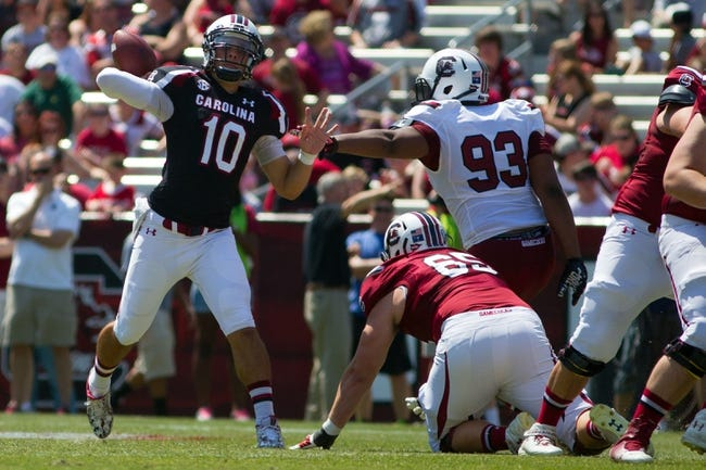 Apr 12, 2014; Columbia, SC, USA; South Carolina Gamecocks quarterback Perry Orth (10) passes the ball during the first half of the South Carolina spring game at Williams-Brice Stadium. Mandatory Credit: Joshua S. Kelly-USA TODAY Sports
