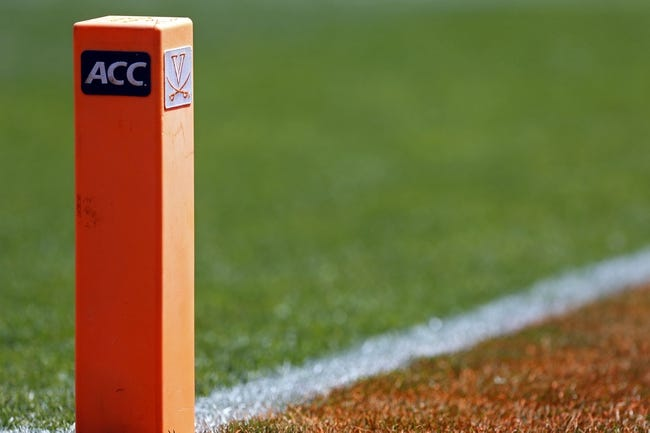 Apr 12, 2014; Charlottesville, VA, USA; A general view of a pylon in the end zone during the Cavaliers Spring Game at Scott Stadium. Mandatory Credit: Geoff Burke-USA TODAY Sports