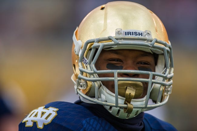 Apr 12, 2014; Notre Dame, IN, USA; Notre Dame Fighting Irish running back Greg Bryant (1) smiles during warmups before the Blue-Gold Game at Notre Dame Stadium. Mandatory Credit: Matt Cashore-USA TODAY Sports