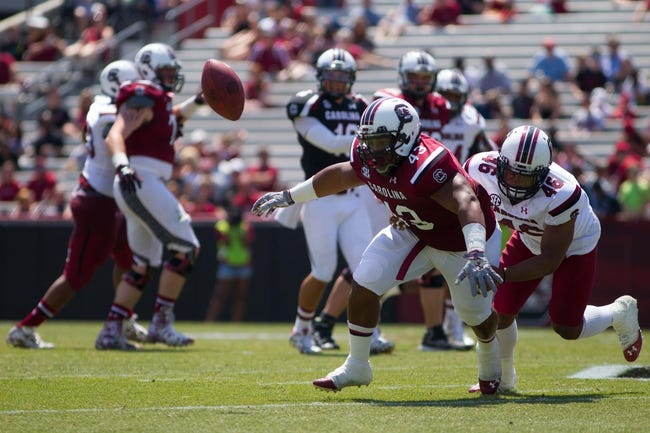 Apr 12, 2014; Columbia, SC, USA; South Carolina Gamecocks fullback Garrison Gist (43) attempts to catch the ball during the second half of the South Carolina spring game at Williams-Brice Stadium. Mandatory Credit: Joshua S. Kelly-USA TODAY Sports