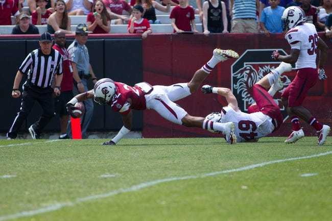 Apr 12, 2014; Columbia, SC, USA; South Carolina Gamecocks wide receiver Matrick Belton (29) scores a touchdown during the second half of the South Carolina spring game at Williams-Brice Stadium. Mandatory Credit: Joshua S. Kelly-USA TODAY Sports