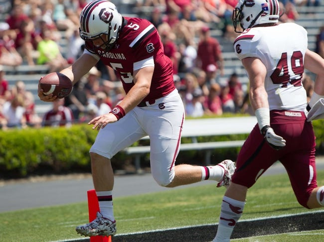 Apr 12, 2014; Columbia, SC, USA; South Carolina Gamecocks quarterback Brendan Nosovitch (5) carries the ball during the second half of the South Carolina spring game at Williams-Brice Stadium. Mandatory Credit: Joshua S. Kelly-USA TODAY Sports