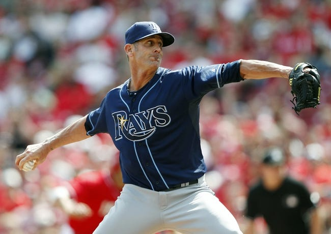 Apr 12, 2014; Cincinnati, OH, USA; Tampa Bay Rays relief pitcher Grant Balfour (50) pitches during the ninth inning against the Cincinnati Reds at Great American Ball Park. Tampa defeated Cincinnati 1-0. Mandatory Credit: Frank Victores-USA TODAY Sports