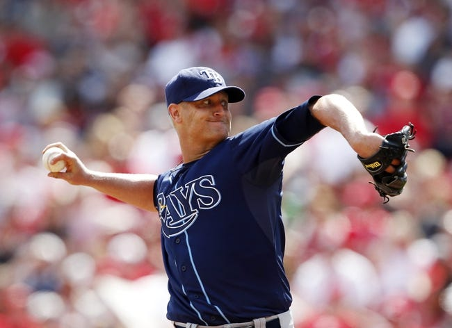 Apr 12, 2014; Cincinnati, OH, USA; Tampa Bay Rays starting pitcher Alex Cobb (53) pitches during the first seventh against the Cincinnati Reds at Great American Ball Park. Tampa defeated Cincinnati 1-0. Mandatory Credit: Frank Victores-USA TODAY Sports