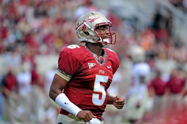 Apr 12, 2014; Tallahassee, FL, USA; Florida State Seminoles quarterback Jameis Winston (5) during the spring game at Doak Campbell Stadium. Mandatory Credit: Melina Vastola-USA TODAY Sports